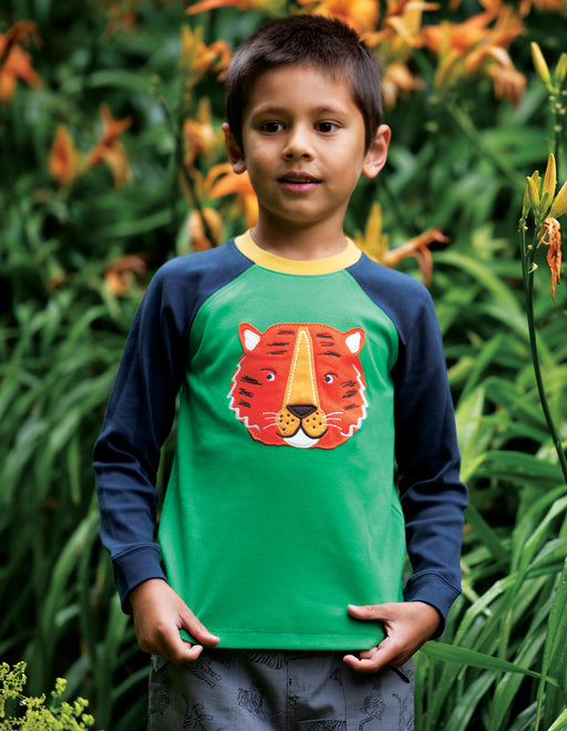 Frugi Glen Green/ Tiger Jake Applique Top
