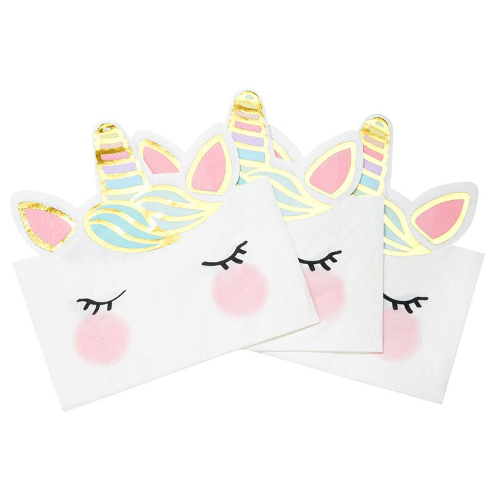 Talking Tables We Heart Unicorns Face Napkins - 12 Pack