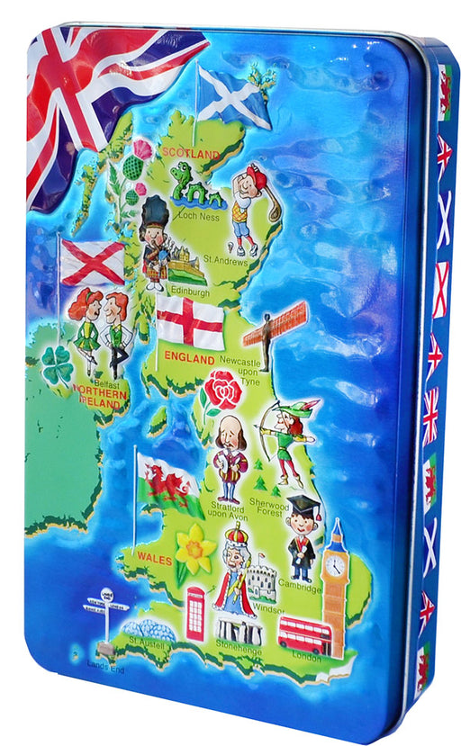 United Kingdom Map Tin with English Fudge