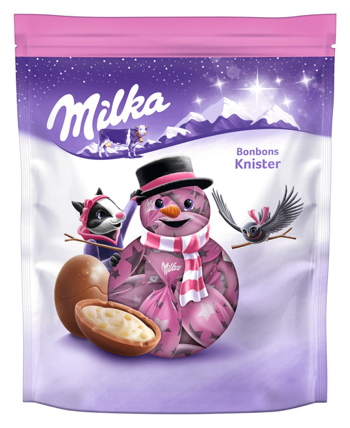 Milka Milk Chocolate Bonbons with Popping Candy Crème Filling in Pouch