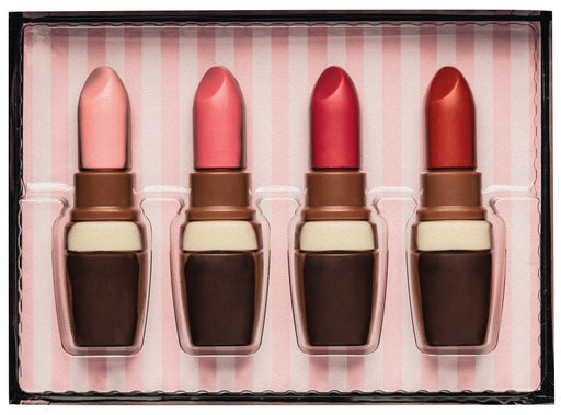 Decorated Hollow Milk Chocolate Lipstick Set in Gift Box