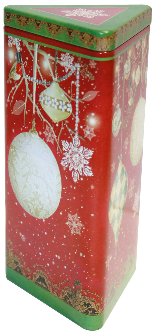 Embossed Triangular Christmas Bauble Tin