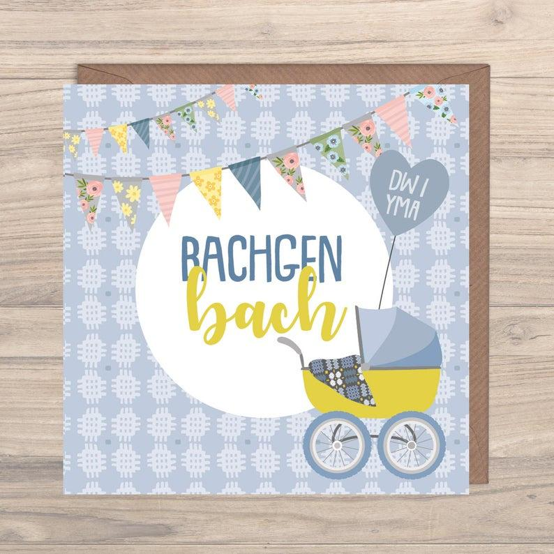 Max Rocks Designs Bachgen Bach - Welsh Baby Boy Card