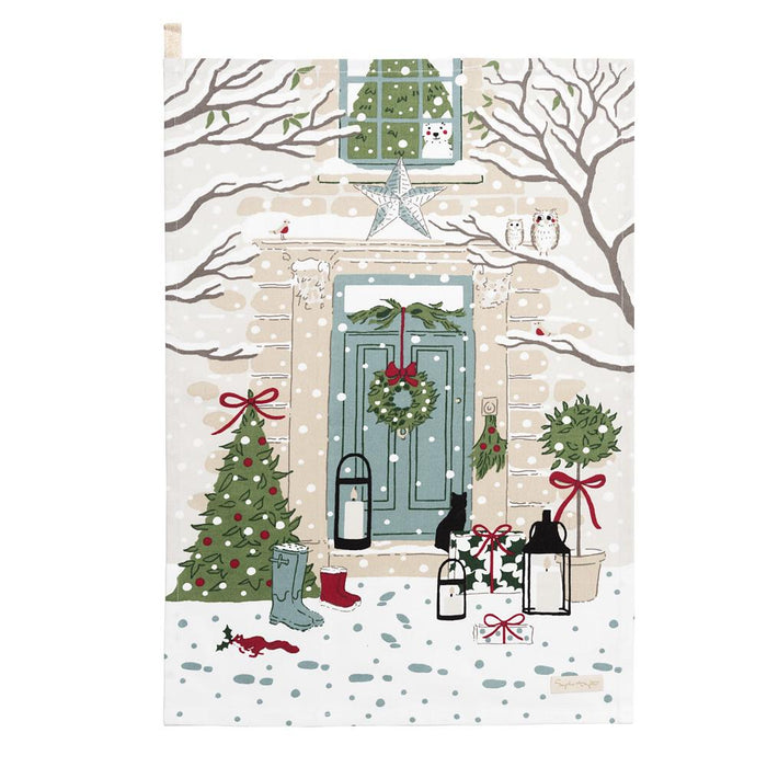 Sophie Allport Holly & Berry Home for Christmas Tea Towel