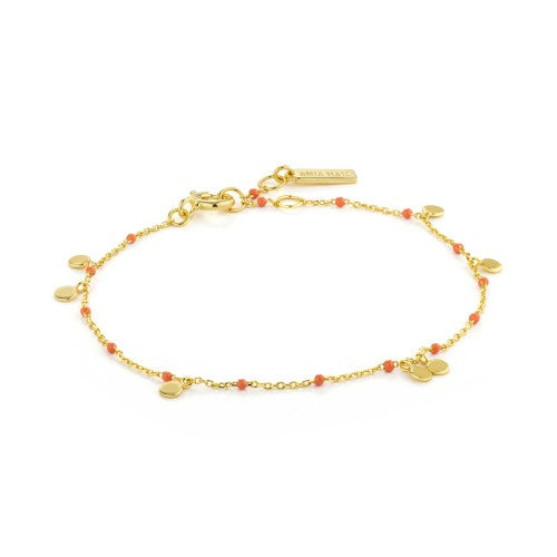 Ania Haie Dotted Drop Disc Gold Bracelet
