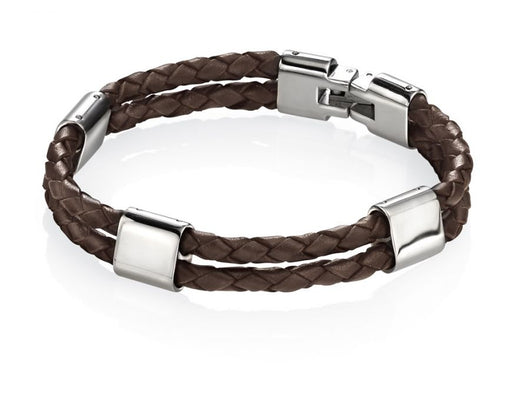 Fred Bennett Stainless Steel Brown Leather Bracelet