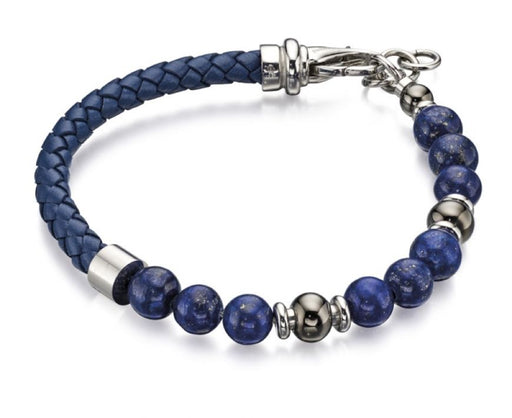 Fred Bennett Blue Lapis Bead And Blue Leather Bracelet