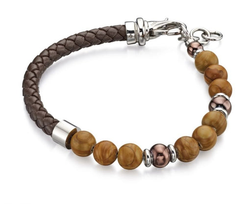 Fred Bennett Brown Bead And Leather Bracelet