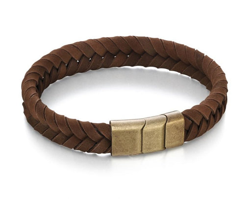 Fred Bennett Plaited Brown Leather Bracelet