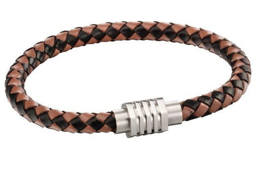 Fred Bennett Leather Woven Brown Bracelet With Hexagon Clasp