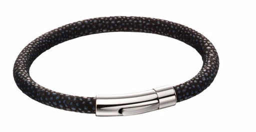 Fred Bennett Stainless Steel Black And Blue Textured Fabric Bracelet