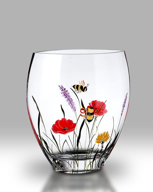 Nobile Glassware Bees and Poppy Curved 21cm Vase