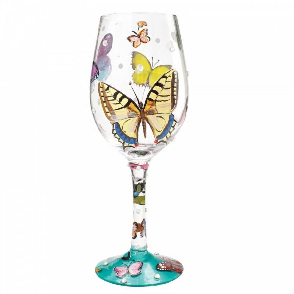 Lolita Butterfly Kisses Wine Glass