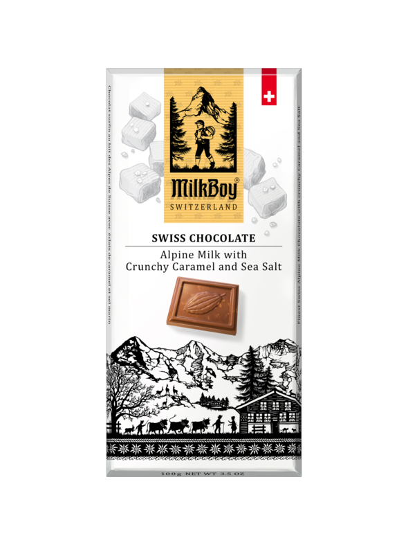 Milkboy Finest Swiss Milk Chocolate with crunchy Caramel and Sea Salt