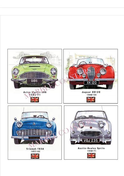 Marble Coaster Set - British Classic Car Set