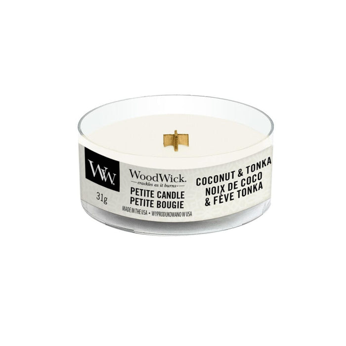 Woodwick Coconut and Tonka Petite Candle