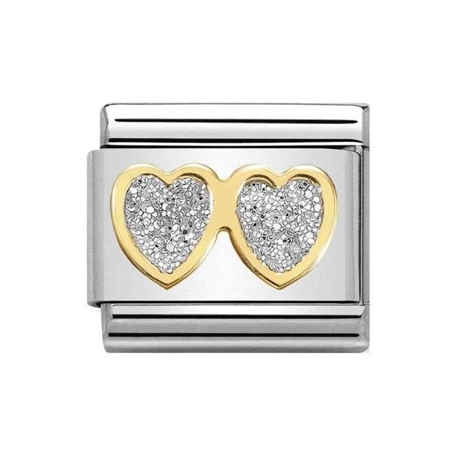 Nomination Classic Charm - Gold and Silver Glitter Double Hearts