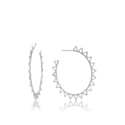 Ania Haie Spike Hoop Silver Earrings