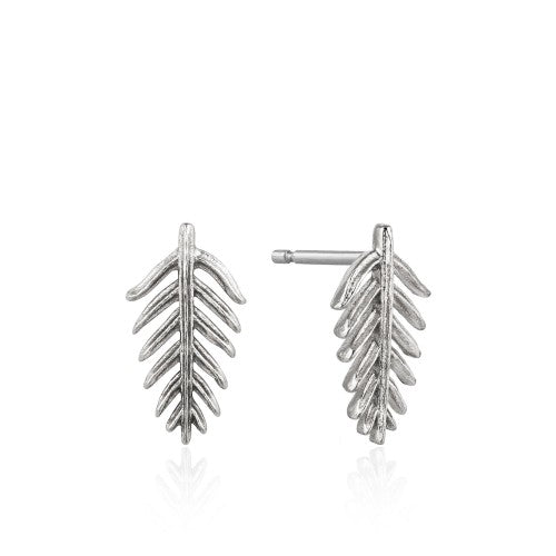 Ania Haie Palm Leaf Silver Stud Earrings