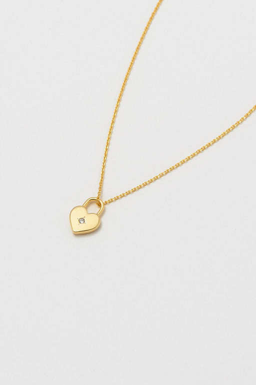 Estella Bartlett Gold Plated Heart Lock Necklace