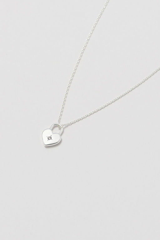 Estella Bartlett Silver Plated Heart Lock Necklace