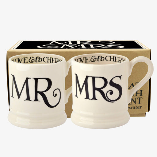 Emma Bridgewater Black Toast 'Mr & Mrs' Set of 2 1/2 Pint Mugs Boxed