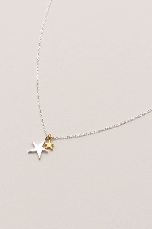 Estella Bartlett Double Star Necklace Silver