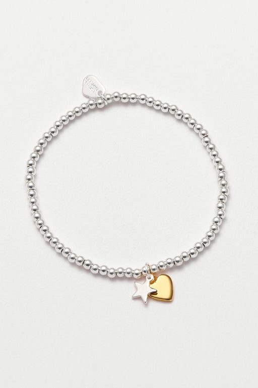 Estella Bartlett Heart and Star Charm Bracelet Silver