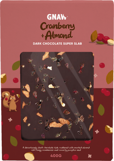 Gnaw Super Slab Almond and Cranberry Dark Chocolate