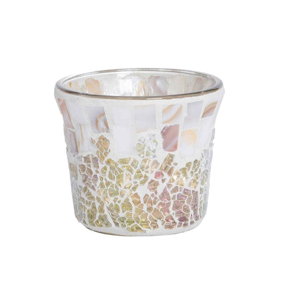 Yankee Candle Gold and Pearl Crackle Votive Holder