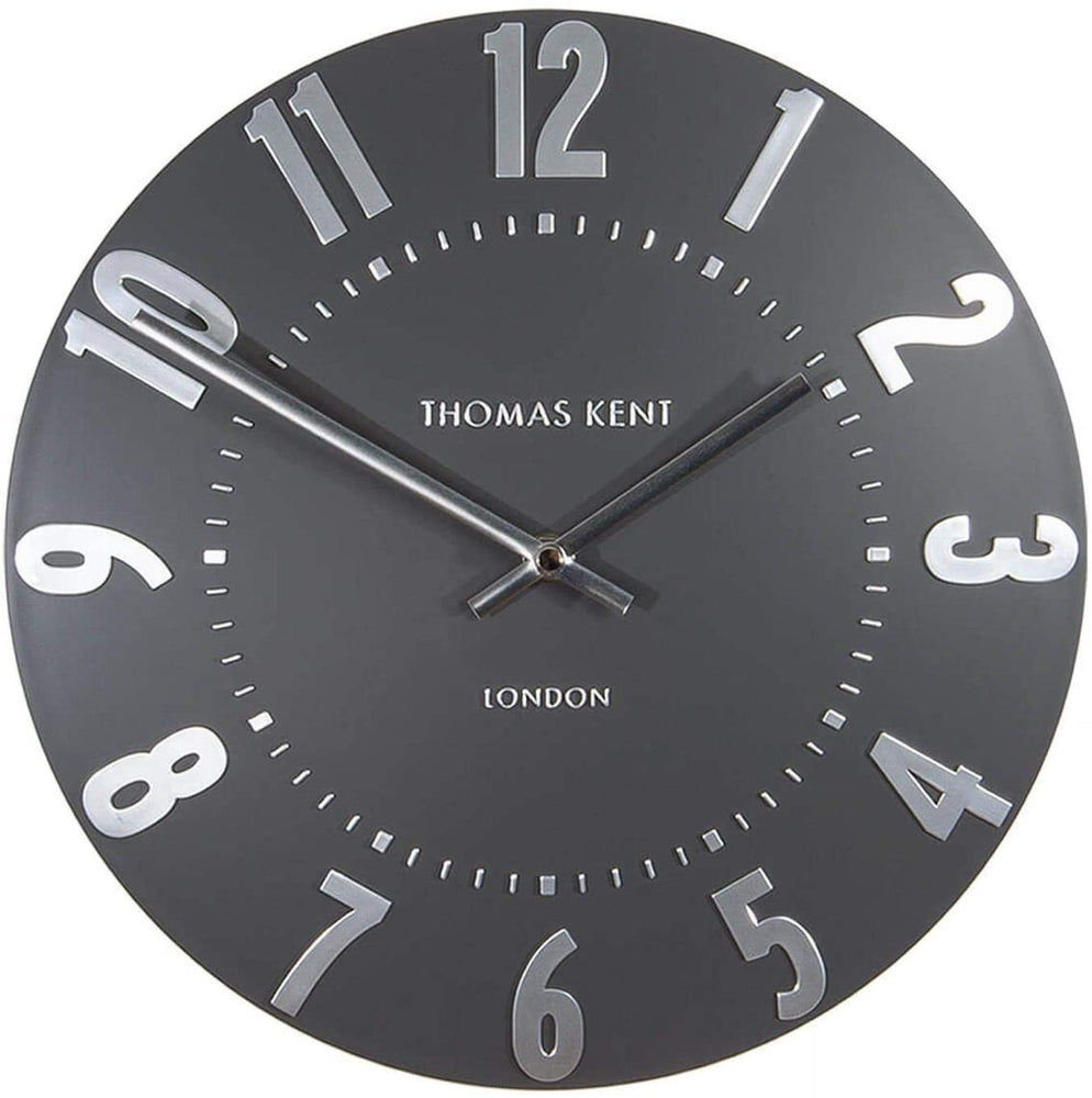 "Thomas Kent 12"" Mulberry Graphite Silver Wall Clock"