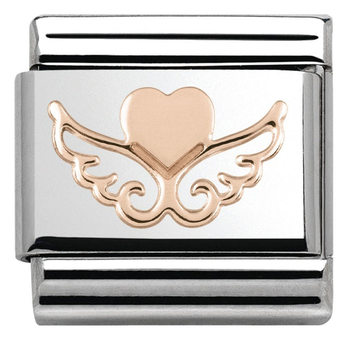 Nomination Classic Rose Gold Heart On Wings Charm