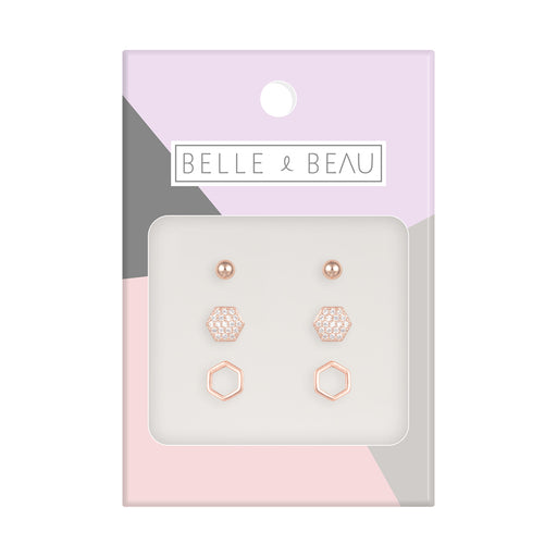Belle & Beau Hexagon Earring Set