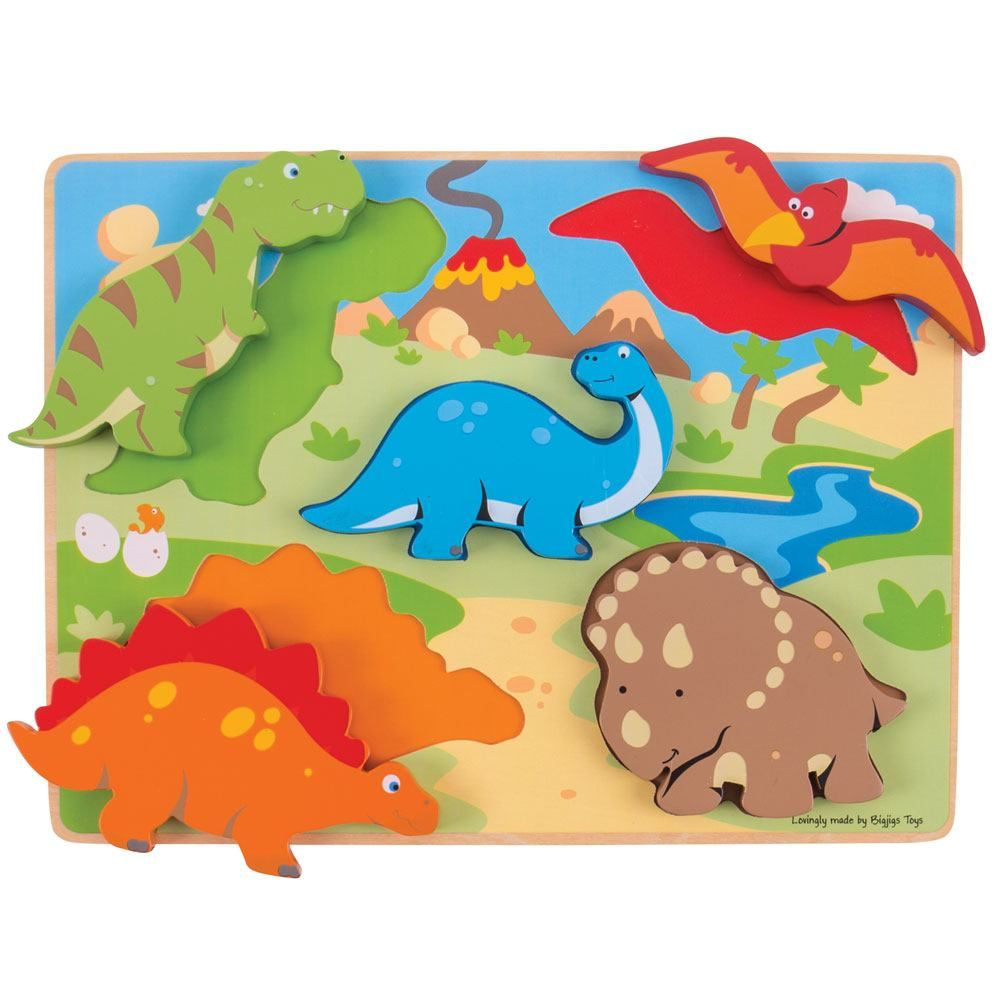 Bigjigs Chunky Lift Out Puzzle (Dinosaurs)