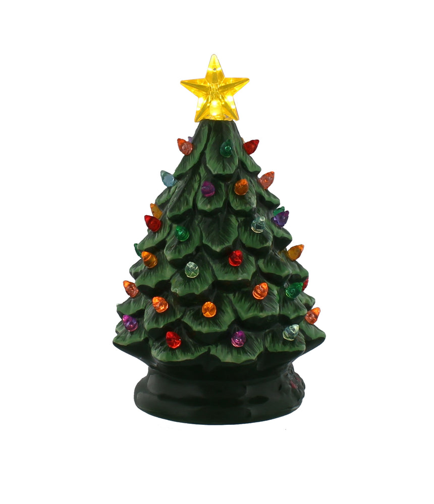Lit Green Dolomite Tree with Lights 18cm