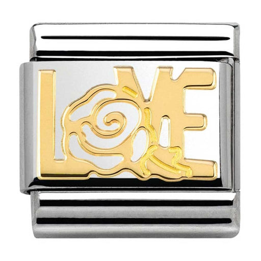 Nomination Classic Gold Charm - Love with Rose