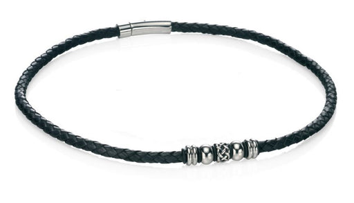 Fred Bennett Stainless Steel Black Leather Celtic Bead Necklace