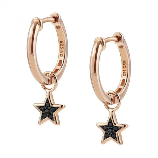 Nomination Nightdream Rose Gold Plated & Black CZ Star Hoop Earrings