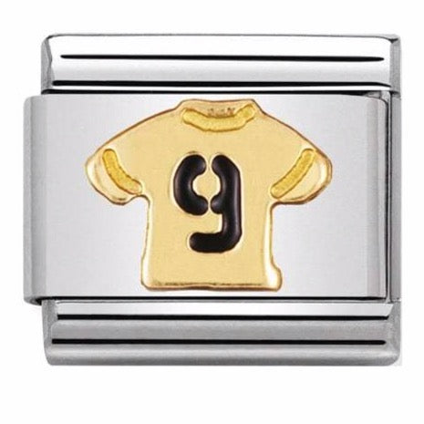 Nomination Classic Gold Charm - Number 9 Football Shirt