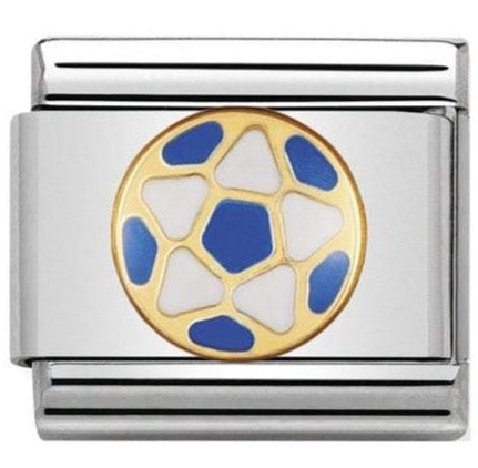 Nomination Classic Gold Charm - White and Blue Football