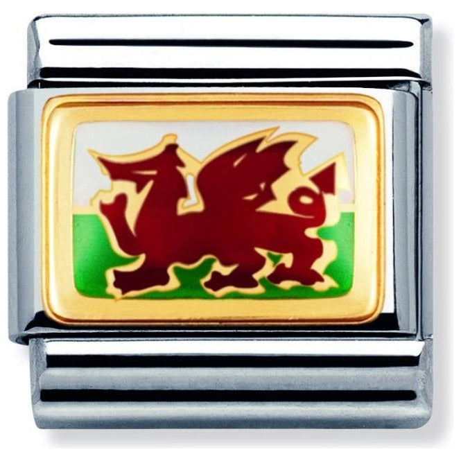Nomination Classic Gold Charm - Welsh Flag