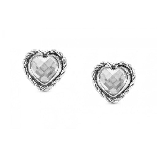 Nomination Silver & White CZ Heart Earrings