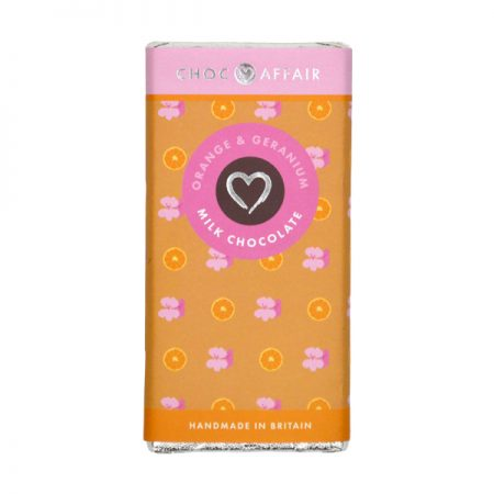 Choc Affair Orange & Geranium Milk Chocolate Bar