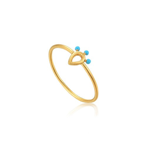 Ania Haie Dotted Raindrop Gold Ring