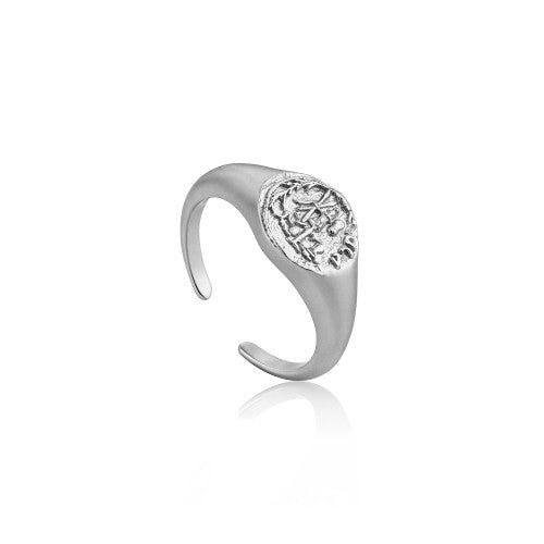 Ania Haie Emblem Adjustable Signet Silver Ring