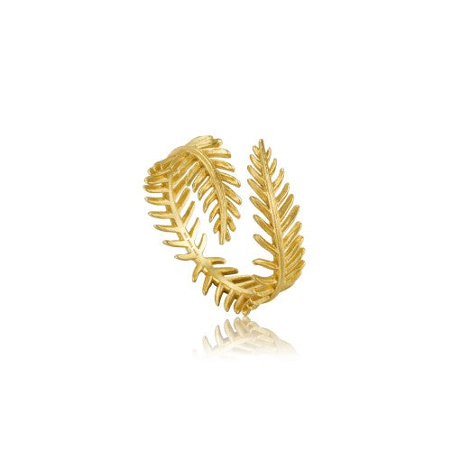 Ania Haie Palm Leaf Adjustable Gold Ring