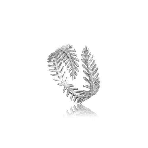 Ania Haie Palm Leaf Adjustable Silver Ring