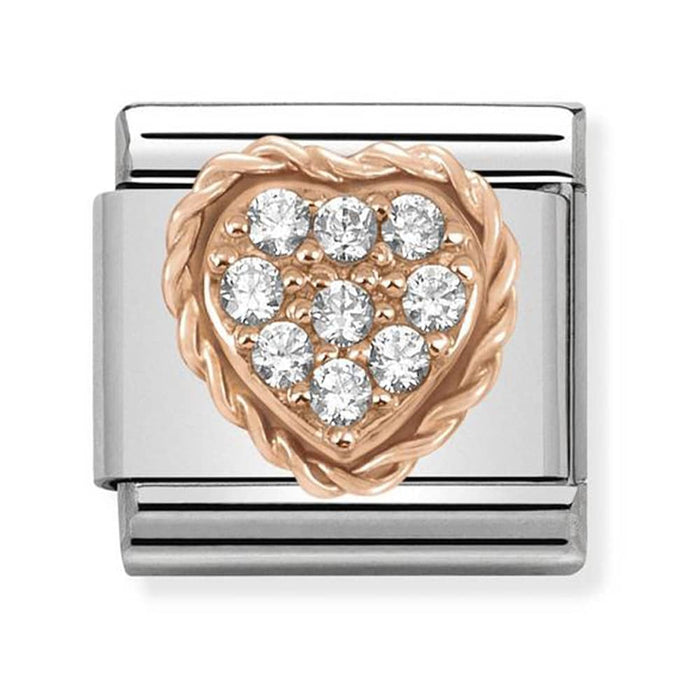 Nomination Classic Rose Gold Pave CZ Heart Charm