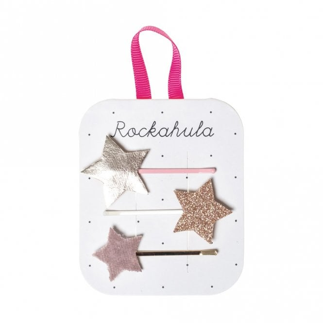 Rockahula Rose Gold Star Glitter Clips
