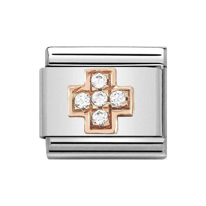 Nomination Classic Charm - Rose Gold & White CZ Cross